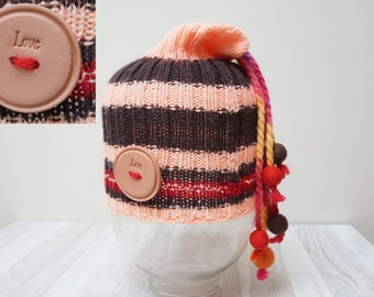 Slouch hat tam rasta beanie beret bobble cap oversized knit dread striped  chunky handmade Felt wool balls red peach brown stretchable 136e88c0c76b