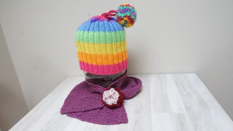 d756e1a5bcc Purple rainbow hat and scarf set knit pompom bobble slouchy