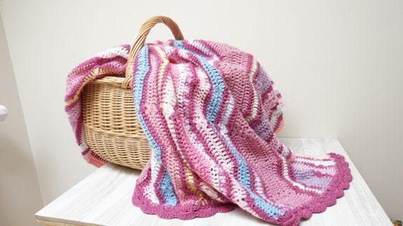 8779e5a7102 Knitting Baby blanket plaid crochet chevron oblong purple pink
