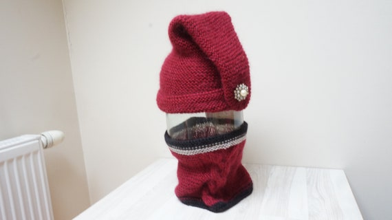 Wine red mohair pointed hat and infinity scarf set turtleneck  695fb74119ad