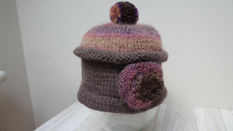 9afda042308443 Brown purple Pom Pom Beret hat tam rasta beanie bobble slouchy | Etsy