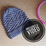Loom Knit ZigZag Slouchy Beanie Hat Pattern + Video Tutorial