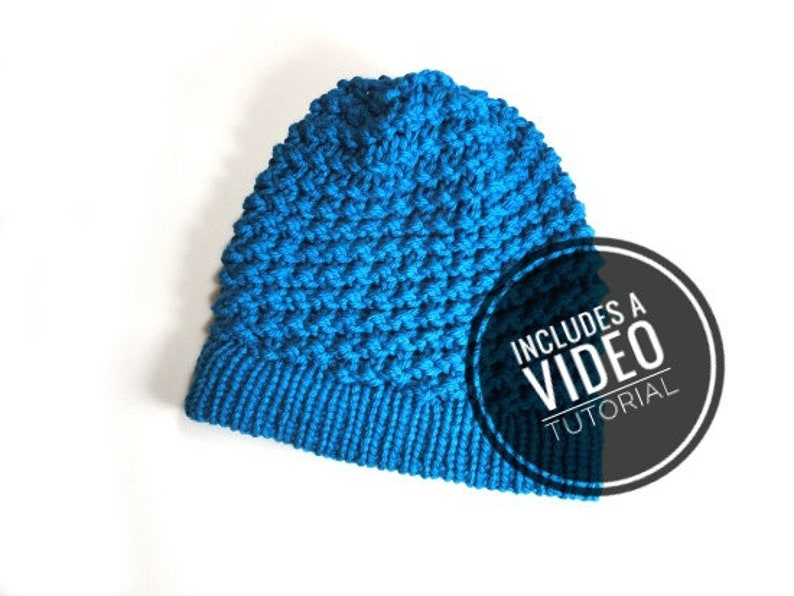 Loom Knit Spiral Slouchy Beanie Hat Pattern  Video Tutorial image 0