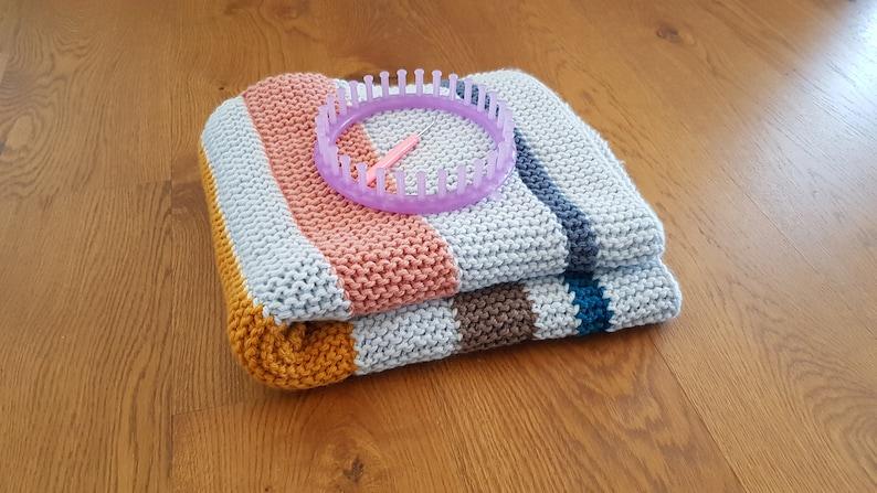 Loom Knit Striped Garter Stitch Blanket Pattern Video   Etsy