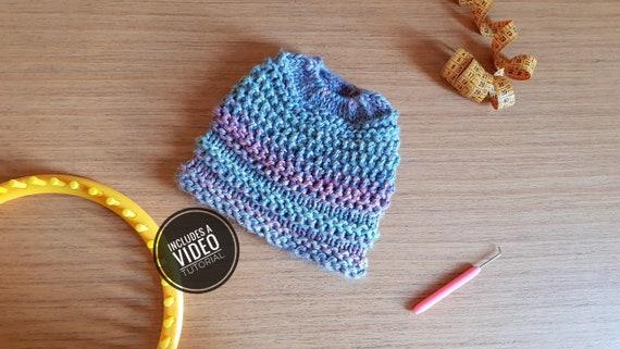 Video Tutorial Loom Knit Messy Bun Hat  Ponytail Hat Pattern