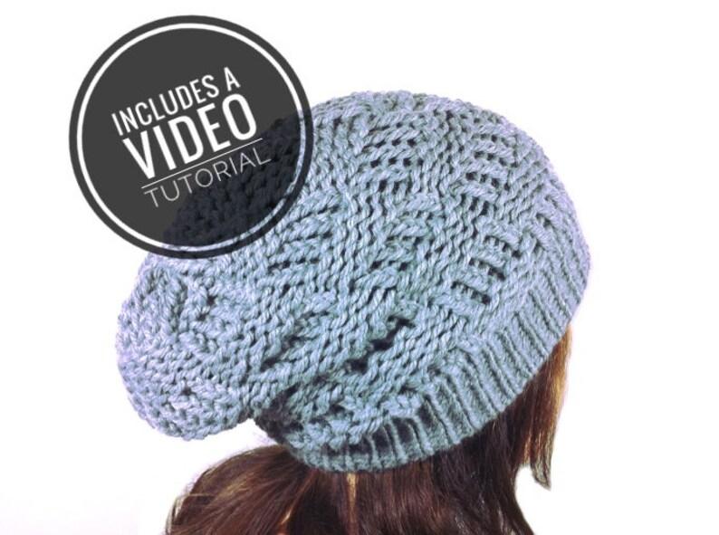 Loom Knit Basketweave Slouchy Beanie Hat Pattern  Video image 0