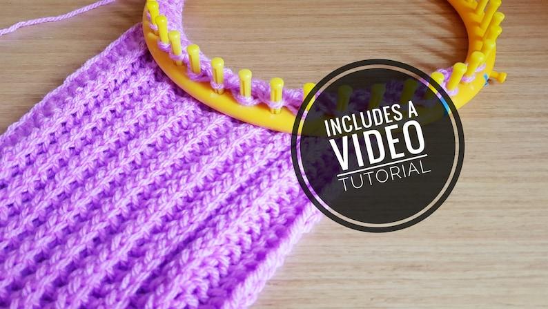 Loom Knit Brioche Stitch Scarf Pattern  Video Tutorial image 0
