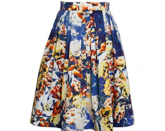 Faltenrock aus Baumwolle mit floralem Blütendruck, knielanger Rock für Damen, A Linie Rock, Midirock halblang, Sommerrock, blau, weiss, gelb