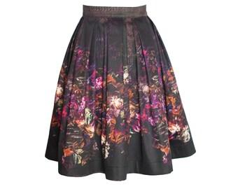 Geblümter Faltenrock aus Baumwollsatin, knielanger schöner Sommerrock für Damen, floraler A Linie Rock, Midirock halblang, schwarz, pink