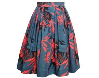 Damenrock mit Falten aus angenehmer Baumwolle mit abstraktem Blütendruck, knielang, petrolblau, koralle, ALinie Rock, Midirock, Sommerrock