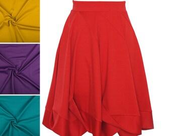 Weitschwingender Jerseyrock, knielang mit drapierter Saumblende, Tellerrock, Damenrock, ALinie Rock, Midirock individuell in Wunschfarbe