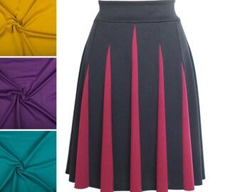 Viele Farben - Ausgestellter Jerseyrock mit Godets, schwarz und weinrot, Midirock, Jerseyrock knielang, ALinie Rock weichfallend, Sommerrock