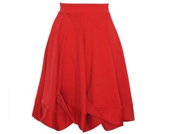 Roter Jerseyrock, knielang mit drapierter Saumblende, Midirock, Damenrock, ALinie Rock, ausgestellter Rock, Sommerrock