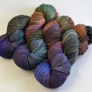 sw merino cashmere nylon fingering dk worsted Hand dyed yarn pick your base Cobalt /& Rust