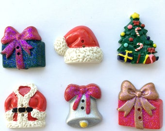 back shank pack of 6 Painted Wooden Christmas Tree Buttons
