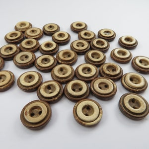 6pk Dark Olive Wood Curved Edge Buttons 4 Sizes