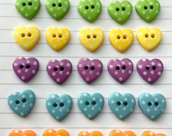 Party Spotty Hearts Button Collection [B0749] Heart shaped buttons / spotty heart buttons