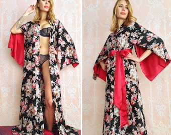 1 custom made long robe in faux silk crepe with pockets Tall curvy womens  kimono with pockets Bohemian boudoir Gift for her f7383ab8d