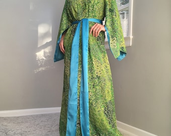 Green turquoise peacock robe in cotton trimmed in satin Bohemian tall plus  size petite womens floor length kimono with pockets. 6f3e75d7e