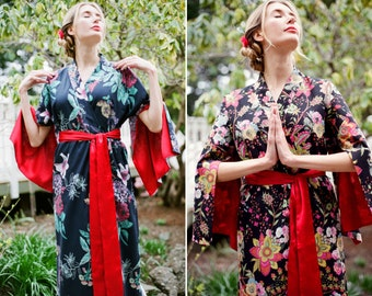 6dc0511d2a One custom made long Haiku robe in cotton trimmed with satin. Long kimono  robe with pockets Long womens robe Lined for modesty.