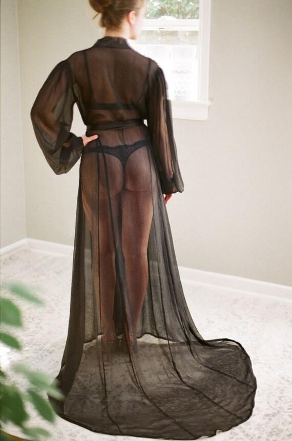 5ce53fa75 ISOLDE. Custom sheer black long chiffon boudoir robe   silk
