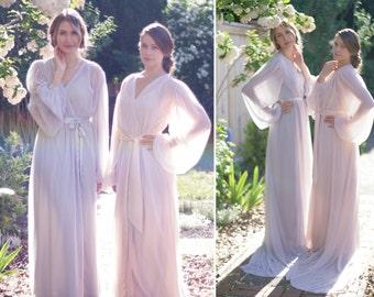 Trieste. One custom Poet sleeve chiffon robe. Long bridal boudoir robe with draped sleeves. Full skirt & train Gathered details With slip