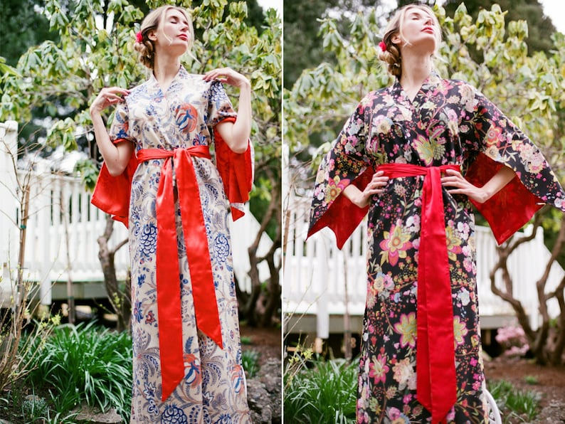 Bohemian kimono robe One custom made Haiku robe in cotton trimmed with satin Long womens robe Lined for modesty With pockets The Haiku