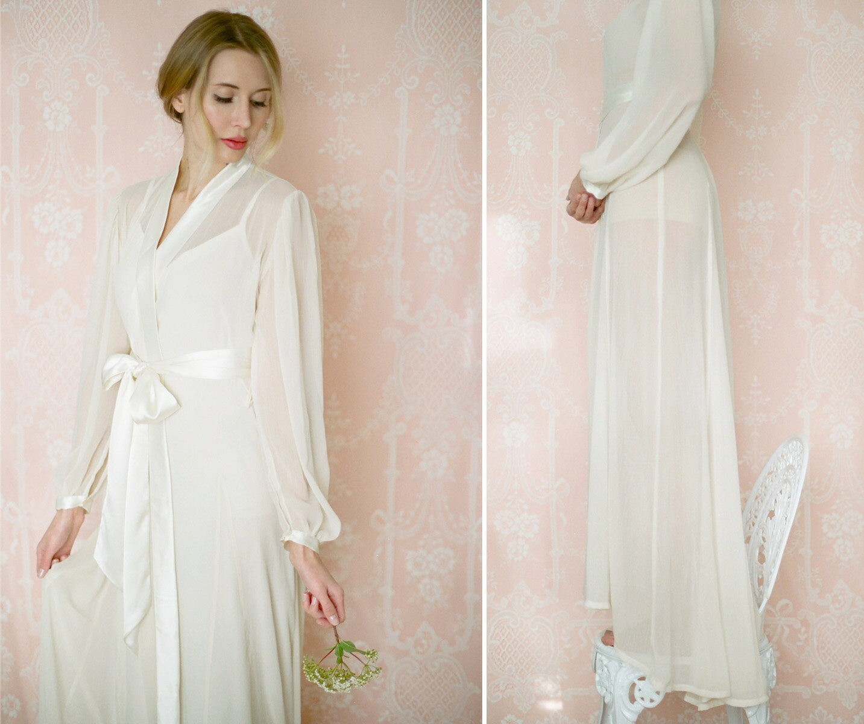 Isolde. Poet sleeve chiffon robe. Long bridal lingerie robe in  727203a81