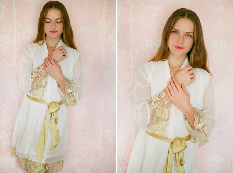 Bridal lace robe Blush pink robe Blush pink and Gold One custom elegant lace trimmed chiffon robe Long chiffon robe.
