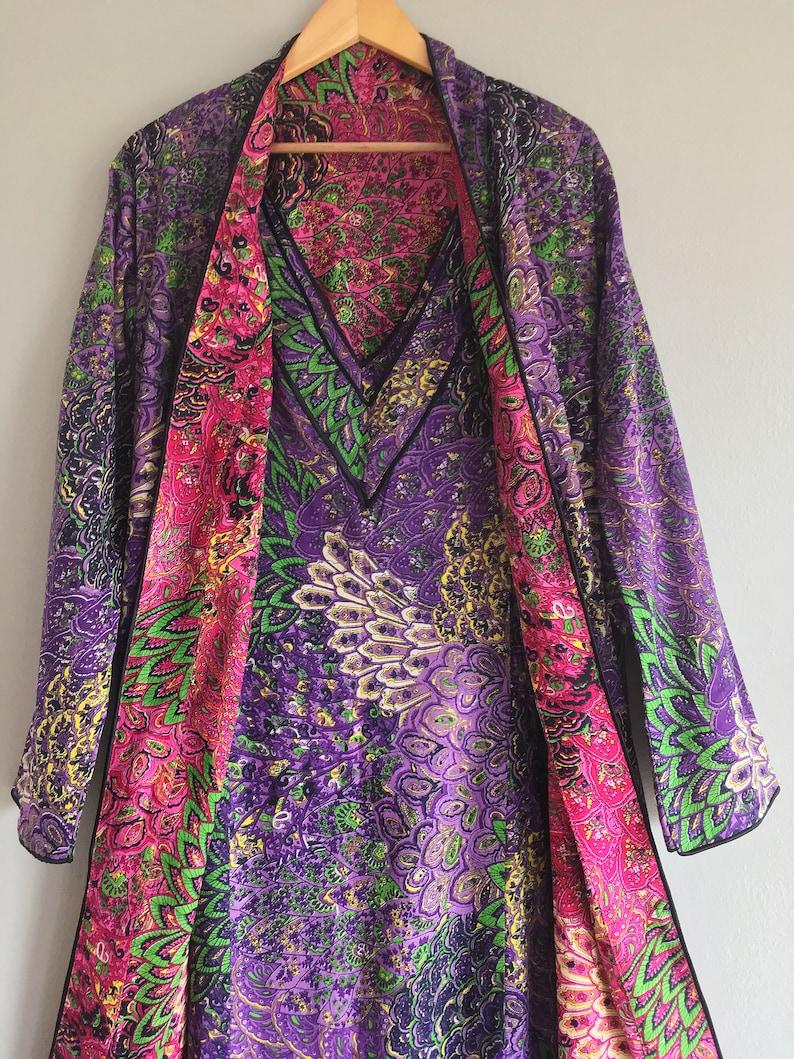 Tall plus size petite womens floor length purple pink Bohemian kimono. Royal Chambers Reversible lined cotton art deco robe with pockets