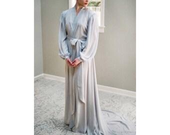 Isolde. Poet sleeve faux silk robe Long grey French bridal lingerie with paneled skirt Full skirt & train. Vintage Hollywood glamour boudoir