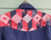 Handmade Patchwork Red Blue Calico Bandana Bib Yoke Open Front Denim Blouse Overshirt Vintage