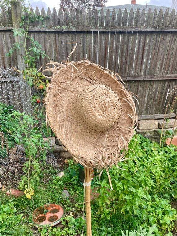 Vintage Straw Hat Scarecrow Farmer Harvest Wide B… - image 1