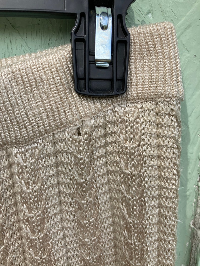 Vintage Midi Cafe au Lait Beige Pointelle Sweater Skirt Woven A-Line Union Made