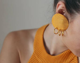 calico earrings 24k gold plated