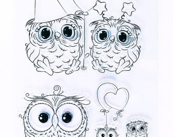 Set of 6 Clear Stamps Owl / Happy Birthday