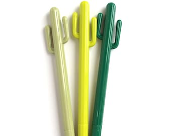 Set of 3 Cactus Gel Pen Green / Yellow / Sand