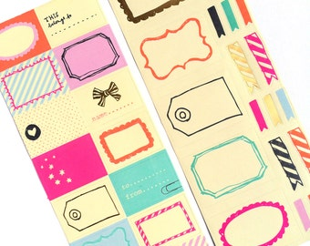 2 Sheets Of Colorful Label Stickers For Snail Mail And Scrapbooking
