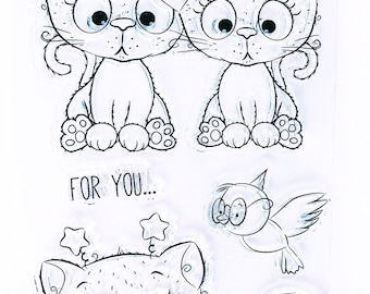 Set of 5 Clear Stamps Kittens / For You