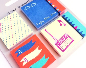 6 Colorful small Sticky Notes Blue Skies