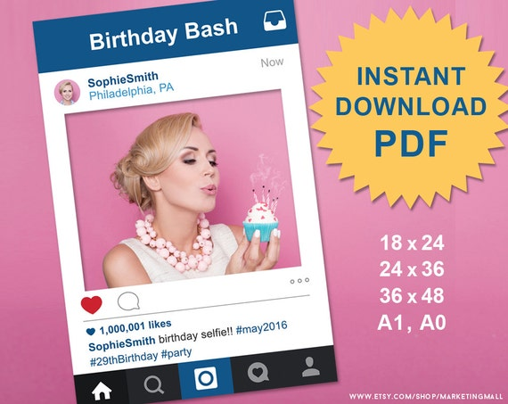 Pdf Instagram Style Social Media Photo Prop Frame Photo Booth Etsy