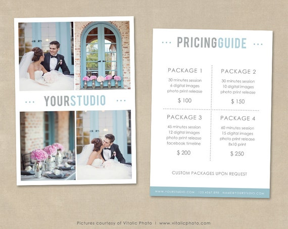 Photography Price List Wedding