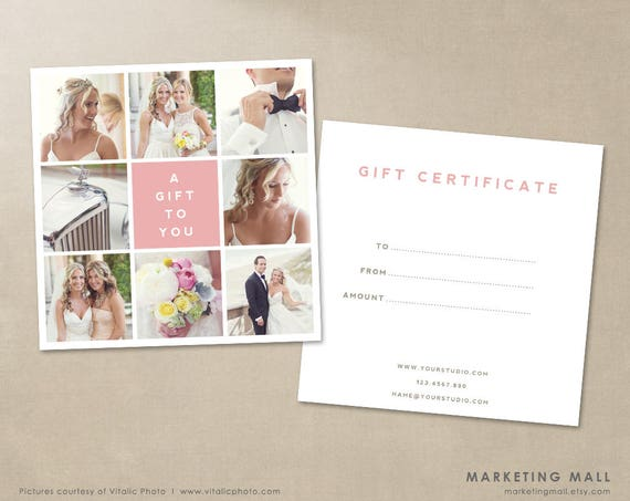Photography Gift Certificate Template Gift Card Template A Etsy