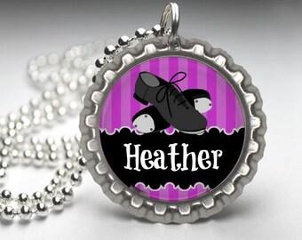 1 Personalized Hot Pink Dance Chevron Bottlecap Necklace GLITTER or Plain dance team dancer dance class teacher ballet recital gift gifts