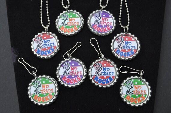 4 Second Grade Bottlecap Necklace Or Zipper Pull Diy Kits Etsy