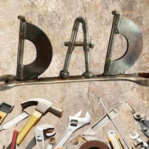 DAD Tool Art welded art RTS father dad mechanic man cave home decor fathers day father/'s day gift dad gift male gift contractor builder tool