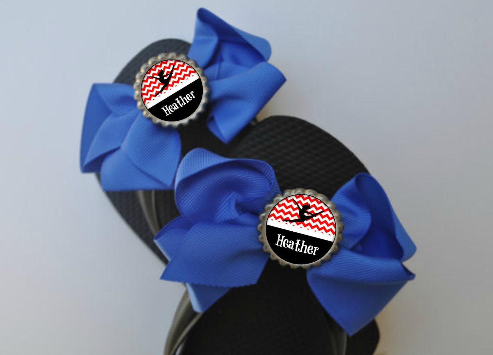 personalized blue & red dance flip flop bows choose colors dance gift shoe slides ballet dance class recital gifts dance team re