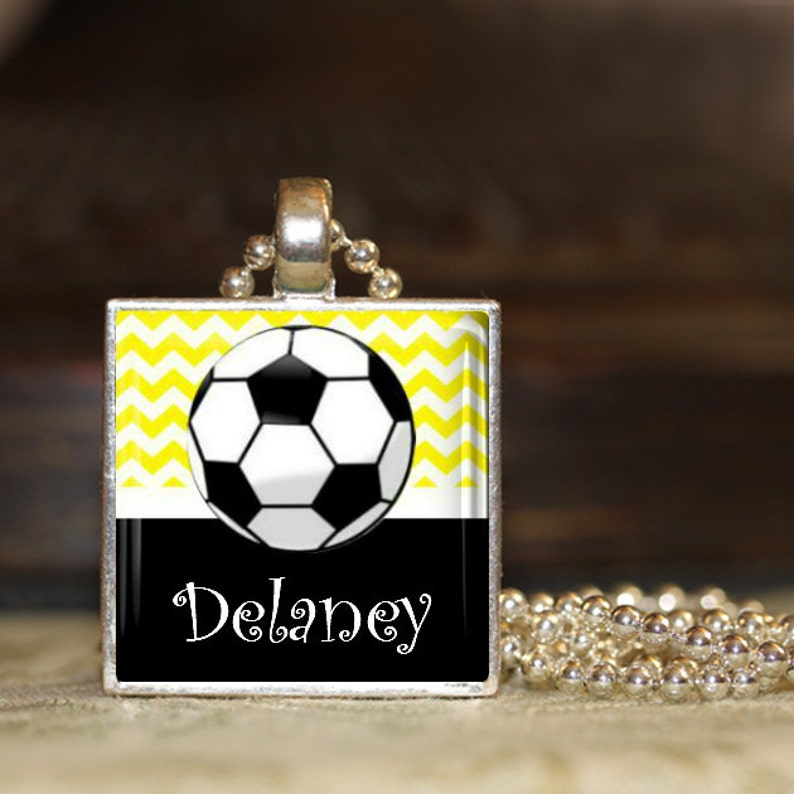 1 Personalized Turquoise Soccer Pendant Necklace 15 Color Choices soccer team soccer team gift middle school high school jv varsity gifts
