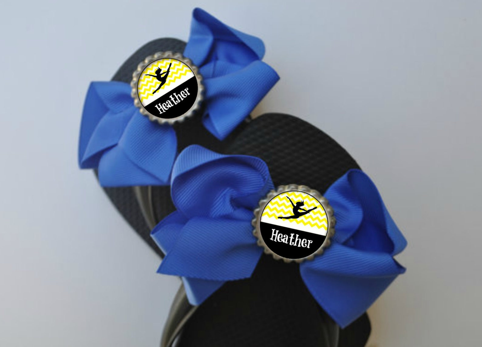 personalized yellow dance flip flop bows choose colors dance gift shoe slides ballet dance class recital gifts dance team recita