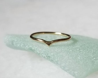 Tiny Solid 14k Gold Arch Point Midi Ring, Pinky Peak Ring